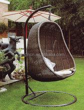 Unique egg shape outdoor single seat hanging garden swing