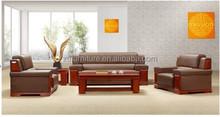 2015 Hot Sale office furniture Teak wood genuine leather sofa(HY-S913)