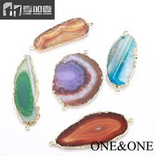 Wholesale Price Fashion Druzy Pendant Natural Drusy Agate Gemstone Jewelry pendant connector Fine Jewelry Necklace