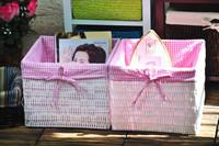 2015 Fashion Handmade Woven PVC Straw Laundry Baskets Bags on sale