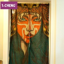 Corean Style Door Curtain Printed Design Decorative Curtain Cool Hangings Portiere