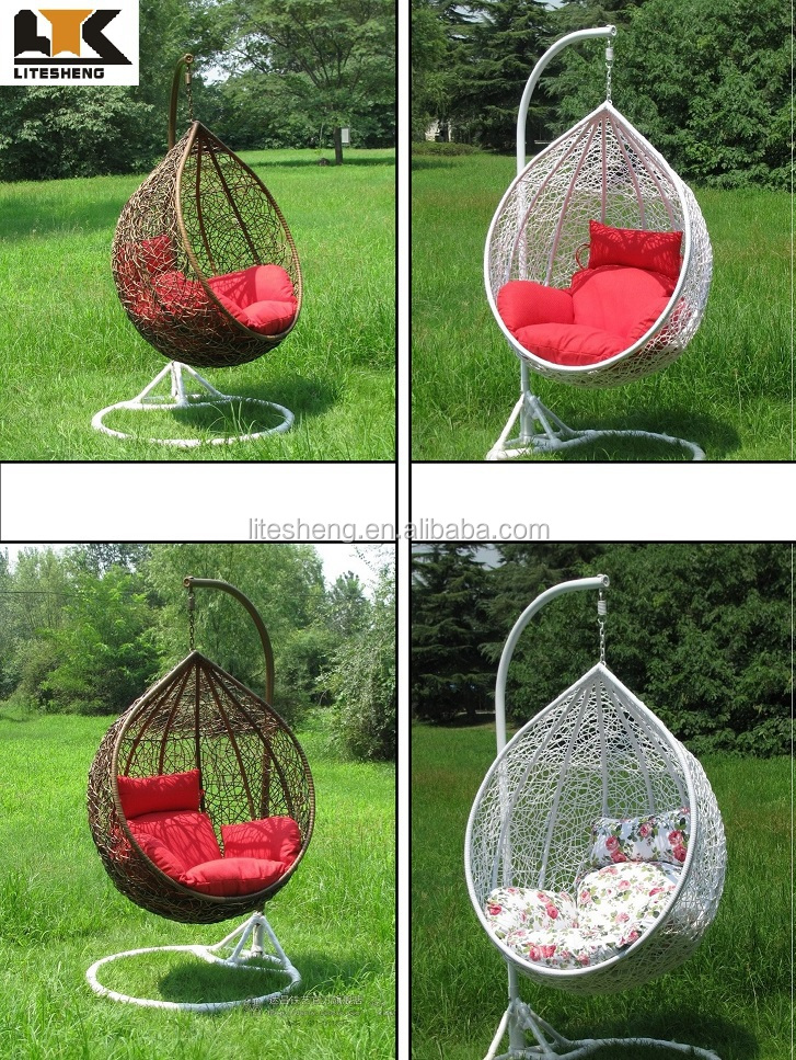 White pe rattan wicker hanging swing egg chair with arm for T shaped swing set