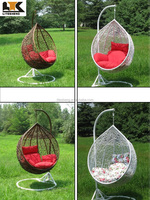 White PE rattan wicker hanging swing egg chair with arm