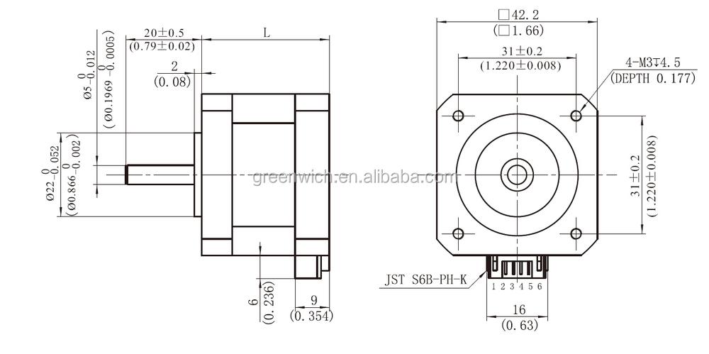 nema17 hybrid stepping motor frame size 42mm