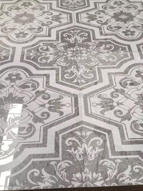 회색 대리석 조각 꽃 패턴 바닥 타일 디자인 홀, 주방, 욕실 ...