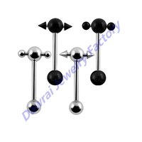 DAR 316L Surgical Steel Barbell With Fetish Slave Tongue Ring Jewelry Body Piercing Jewelry