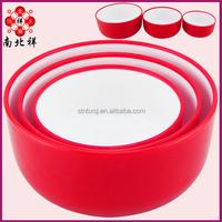 Three piece Double Color Plastic Salad Bowl Japanese Noodles Bowl