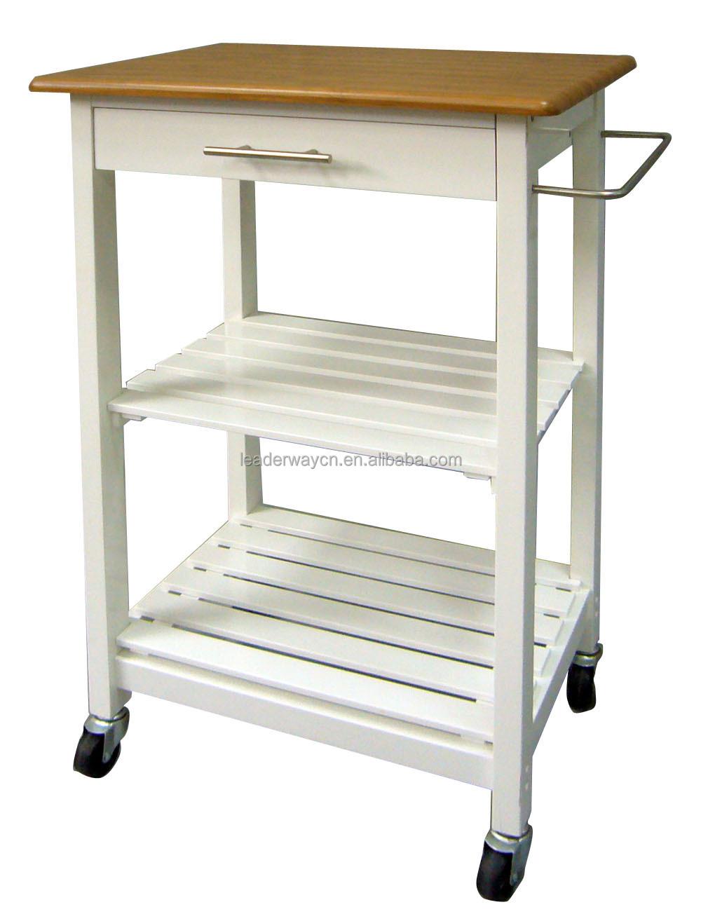 Nieuwe pvc top houten keuken kar/keuken trolley met lade en wiel ...