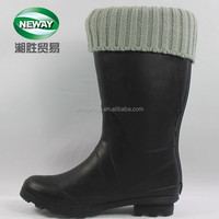 Waterproof High Heel Black Rubber Women Rain Boots with Gray Knitting