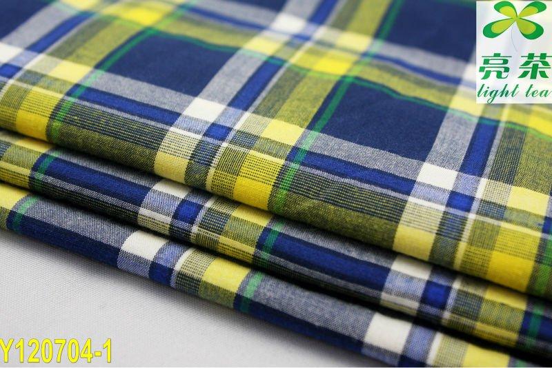 Fábrica de Venta Directa -Tela Popelina De Cuadros Azules y Amarillos De Algodón 100%