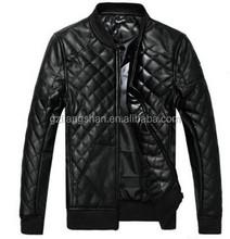 OEM Custom NEW Men's Short Slim leather motorcycle jacket stitching Quilted Collar Cotton coat PU jacket