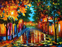 Manually Abstract Street scene Artist OIL Knife Painting HT 12598