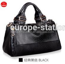 Leather handbag crocodile grain one shoulder female bag