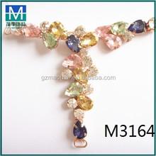 M3164 colorful T shape rhinestone shoe decoration shoe accessory sandal buckles