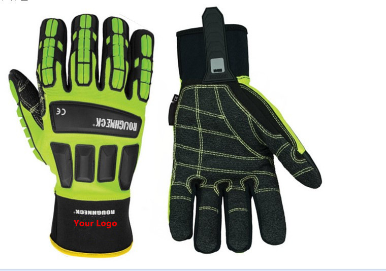 Kevlar palm oilfield tpr impact safety gloves impact resistance