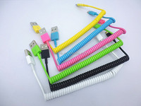 portable micro Spiral usb cable for smartphone with TPE