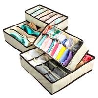 Collapsible Storage Boxes Bra Underwear Closet Organizer Drawer Divider 4 set - RBHO1008
