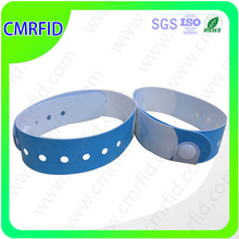 PVC/paper chip ntag203 rfid one time use id bracelet