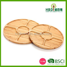 New food grade round bamboo serving tray with 5 compartment