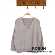 100% Acrylic V-Neck long sleeve 2015 stock item wholesale price winter blouse sweater