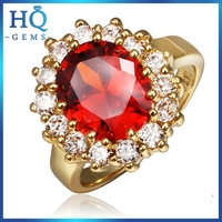 christmas gift Gold plating and red ruby stone ring for women