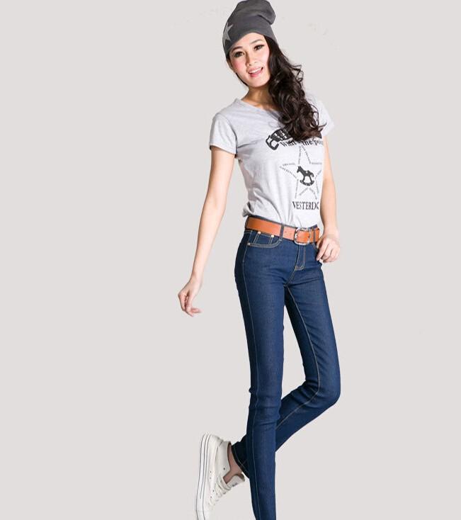 TC] весной 2015 осенней моды женщин джинсы скинни джинсы карандаш брюки для женщин Черный Голубой Джинс женщина Черный Голубой Джинс