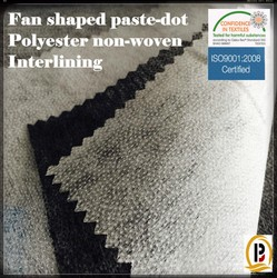 High quality Fan shaped Paste -dot Polyester Non-woven fusible interlining fabric for garments (#6025)