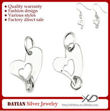 XD P306 925 Sterling Silver Double Heart Jewelry Connectors for Bracelet