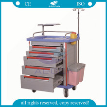AG-ET001A1 CE approved Luxurious ABS oxygen tank medical trolley with drawers