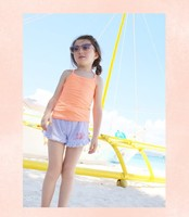 2015 Girl's Cute Candy 100% Cotton Camis T-shirts Chlidren Sleeveless Straps Casual Tank Tops for Wholesale Haoduoyi