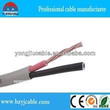 Apartamento sólido cable, aislamiento de pvc, 2 núcleos de alambre