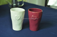 High Quality Ceramic Mug 10 Ounce, Round Ceramic Latte mug with heart embossed pattern, Ceramic Beer mug with hammer finish