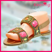 wholesale summer rhinestone beaded ladies shoe upper for sandal with stones material
