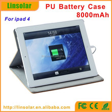 New PU Leather 8000mAh External Battery Protective Case Charger for ipad 4