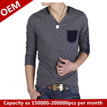 Wholesale mens 2014 Fall and Winter new slim design tshirt with OEM service