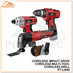 POWERTEC 10mm 12V cordless tool set,(Drill/Impact Driver/Multi-tool)