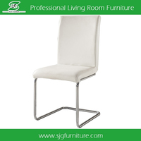 White PU Dining Chair With Stainless Steel Legs YX-006