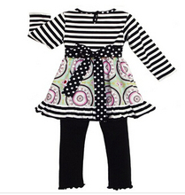 Wholesale stripe girls boutique outfits name brand baby clothes