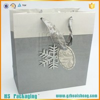 Factory made logo print shopping paper bag with Ribbon Handle