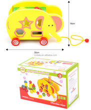 Learning education wooden tractors block Toys pull Elephant Block building block