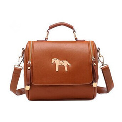 2014 China supplier promotion korean style ladies vintage tote messenger bags with metal horse design