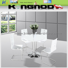 round MDF white gloss with chromed base modern restaurant tables and chairs
