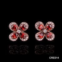 Hotsale Real Gold Plating Exquisite AAA+ Zircon Four Leaf Clover Bridal Jewelry Wedding Earrings for Export