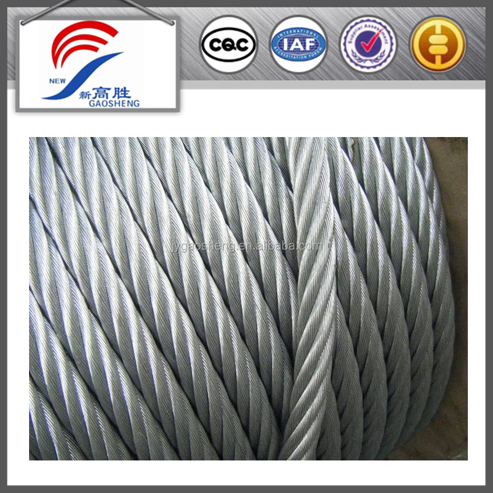 6x19+iwrc 8.3mm Hot Dip Galvanized Steel Wire Rope For Suspended ...