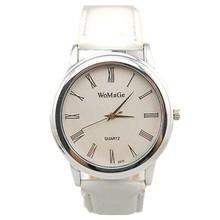 womage brand men fashion dress roman time head 4colors leather strap women casual quartz watch