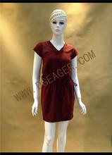 Original Design Ladies Wine Red Lace Insert Elastic Waist Casual Dress