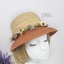 2015 New Desogn Holiday Straw Hat With Flower,Not Expensive Straw Hat For Women