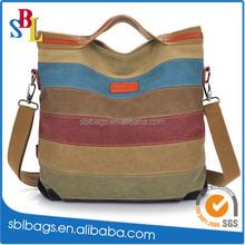 Canvas Stripe Fashion women handbag shoulder bag Lady weekend bag