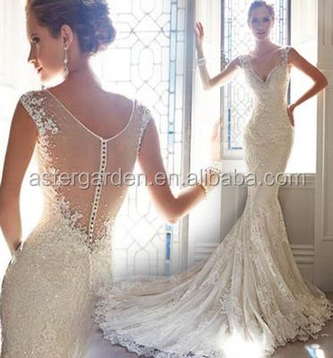 2018 новый стиль кружева Fishtail свадебные платья невесты небольшой хвостом свадебное платье 48543