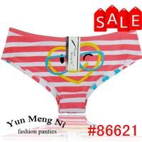New fashion design striped printed ladies panties glass printed cartoon young ladies panties